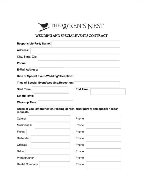 wedding contract sample templates