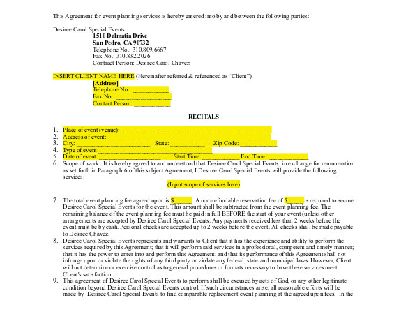 Special event Contract Template event Contract Template 14 Free Word Excel Pdf
