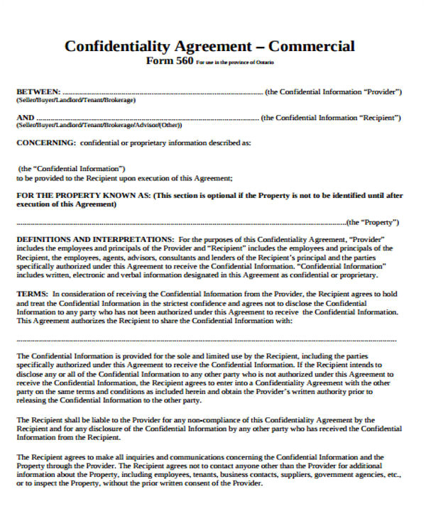 commercial agreement template