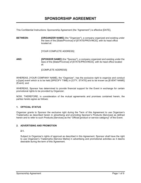Sponsor Contract Template Sponsorship Agreement Template Word Pdf by Business