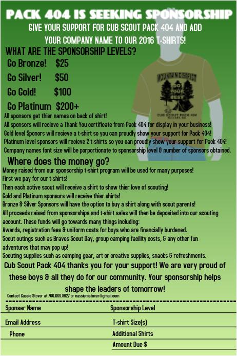 cub scout sponsorship flyer template