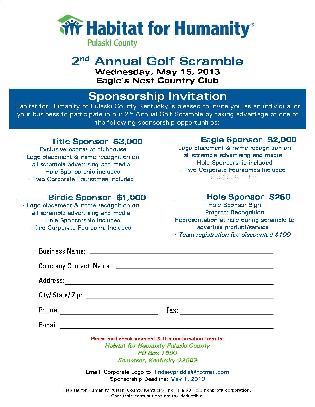 hfh golf scramble sponsorship flyer 2013