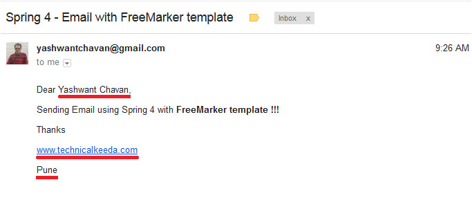 spring 4 sending email with freemarker template