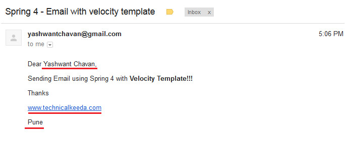 spring 4 sending email with velocity template