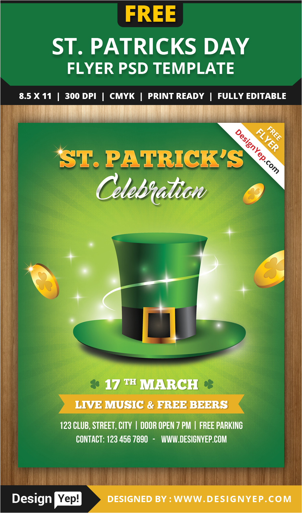 free st patricks day flyer template