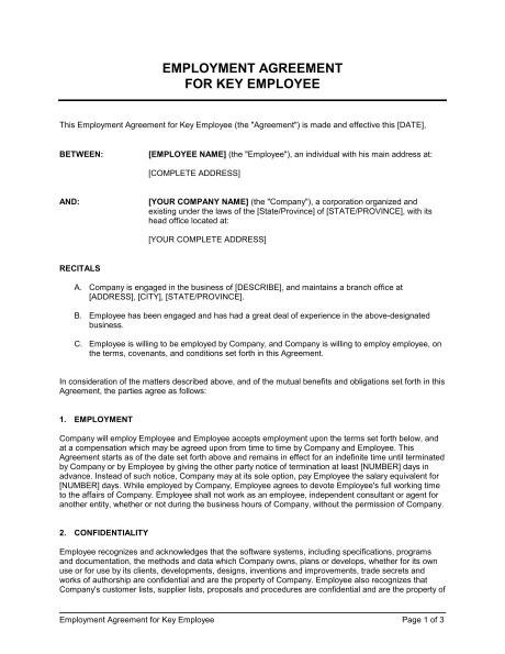 employment agreement key employee d546