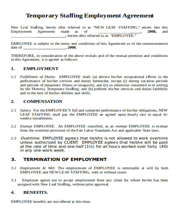Staffing Agency Contract Template 44 Agreement Templates In Word Free Premium Templates