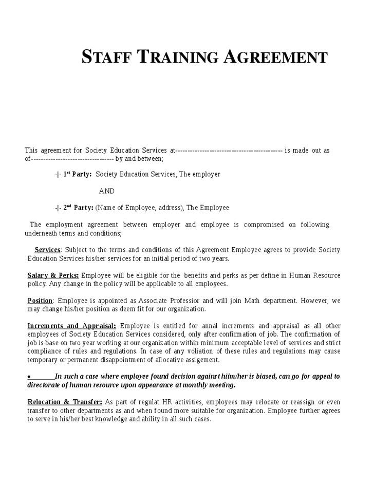 98485 employee training agreement