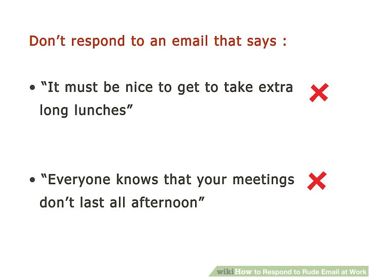 respond to rude email at work