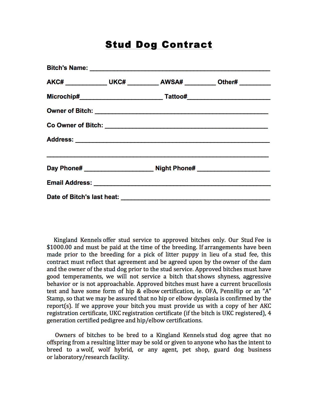 Stud Dog Contract Template Stud Contract Kingland Kennelskingland Kennels
