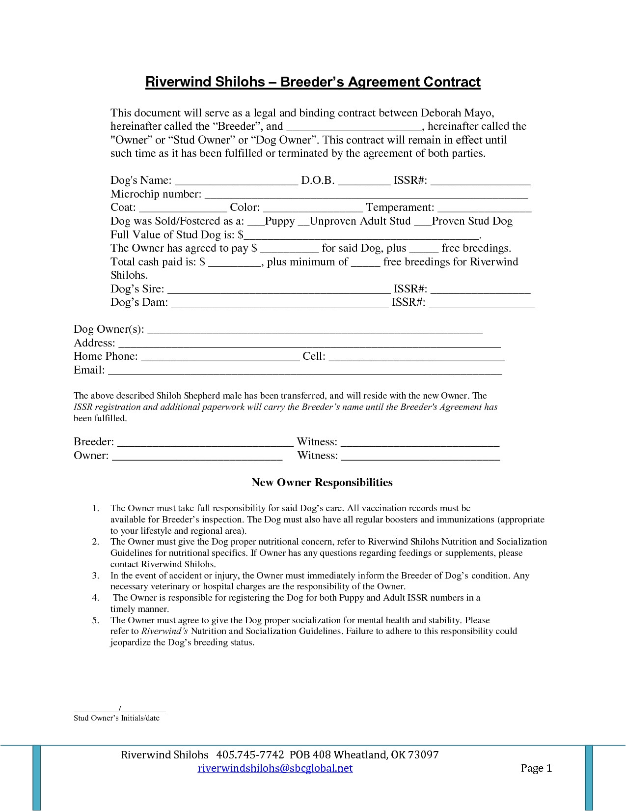 stud service contract template