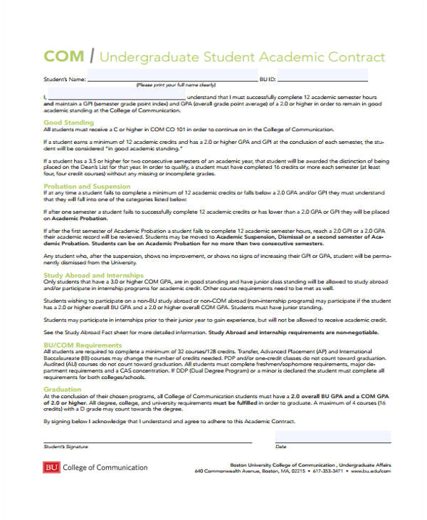 student contract templates