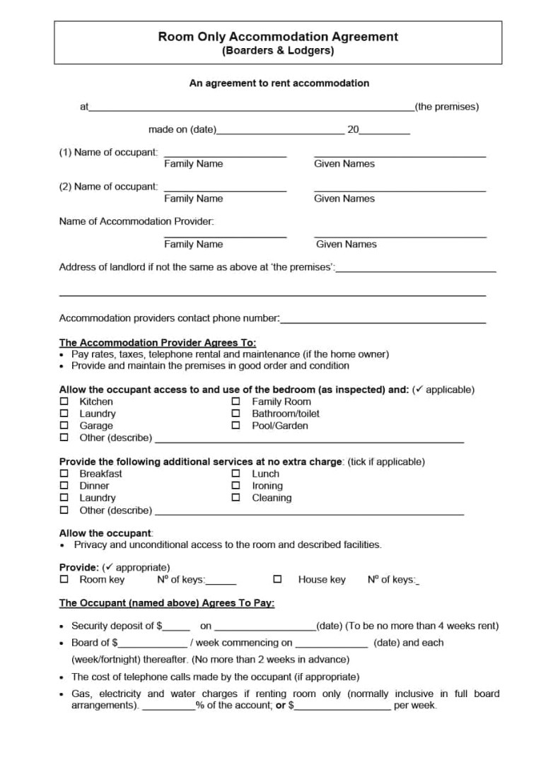 student accommodation contract template