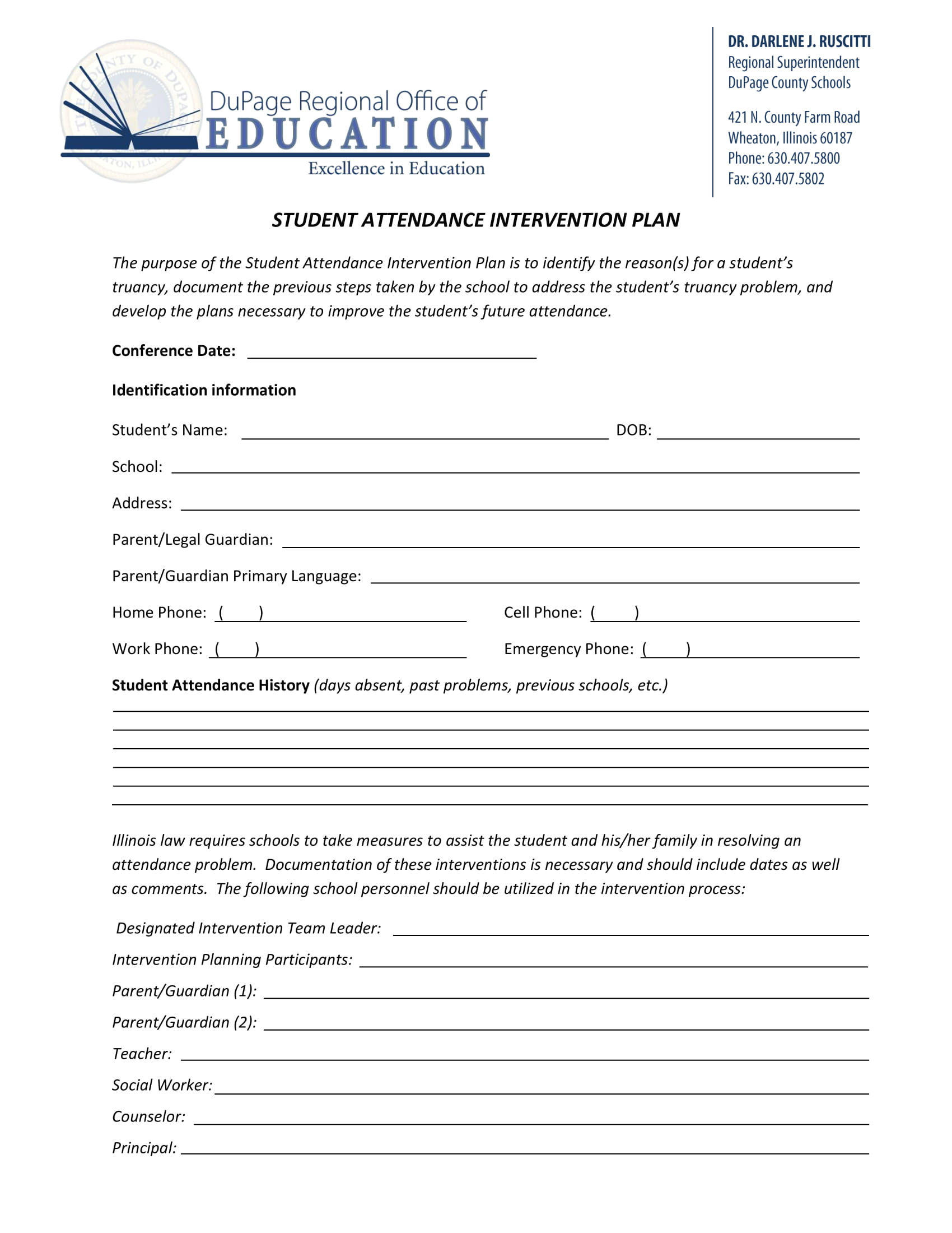 student attendance contract template examples