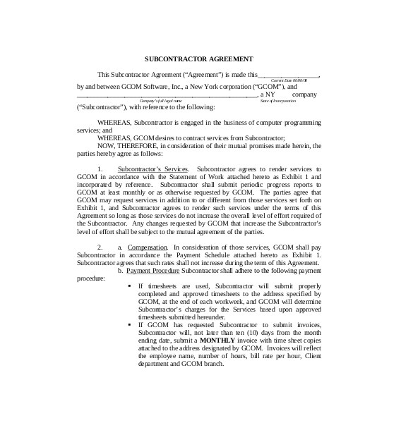 Subcontracting Contract Template Subcontractor Agreement Clever Hippo