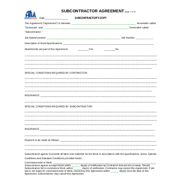 Subcontracting Contract Template Subcontractor Agreement Template Business Mentor
