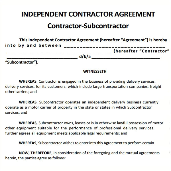 Subcontractor Contract Template Free Uk Sample Subcontractor Agreement 17 Free Documents