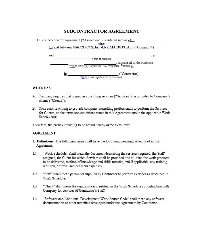 Subcontractor Contract Template Uk Need A Subcontractor Agreement 39 Free Templates Here