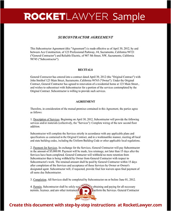 subcontractor agreement rl