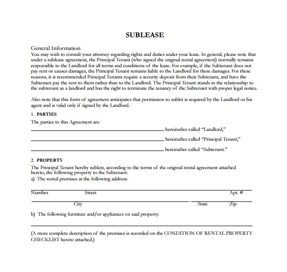 Sublet Contract Template Uk Sublease Agreement 25 Download Free Documents In Pdf Word