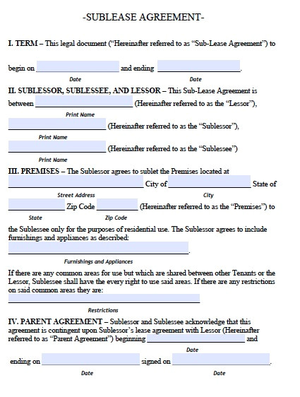 Sublet Contract Template Uk Sublease Agreement Template Real Estate forms
