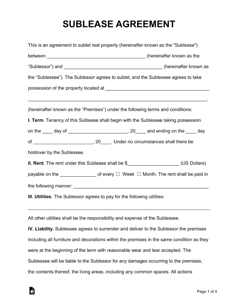 Subletting Contract Template Free Rental Lease Agreement Templates Residential