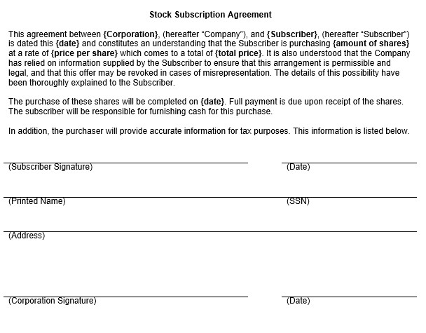 stock subscription agreement
