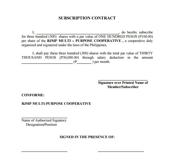 Subscription Contract Template Subscription Agreement 17 Free Word Pdf format