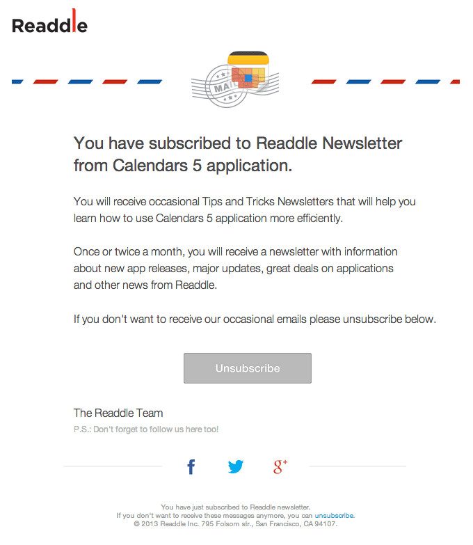 subscription confirmation readdle