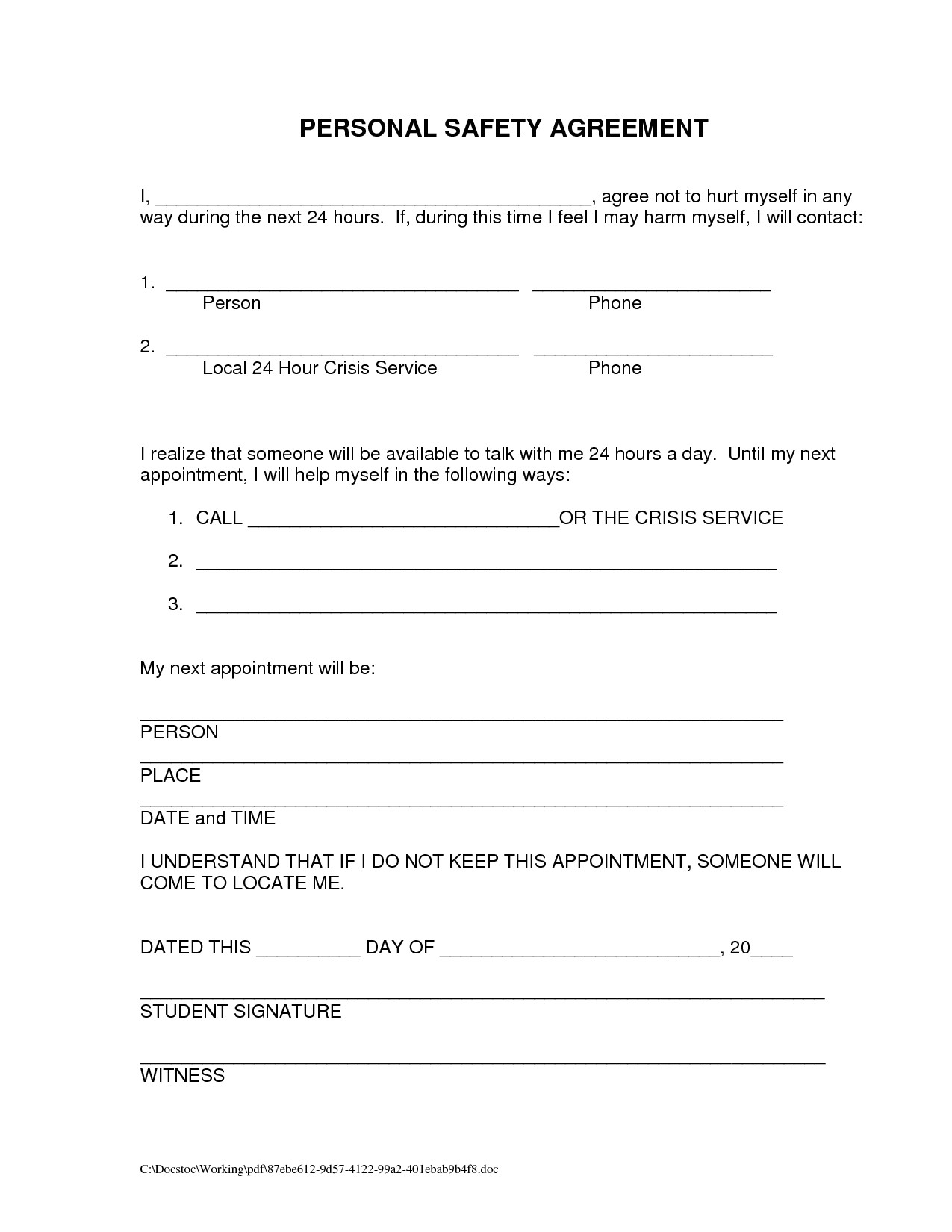 Suicide Safety Contract Template 18 Best Images Of My Relapse Prevention Plan Worksheet