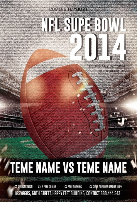 tag nfl super bowl party photoshop psd flyer template