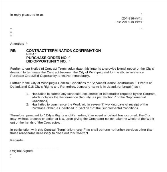 Supplier Contract Template Uk 23 Free Termination Letter Templates Pdf Doc Free