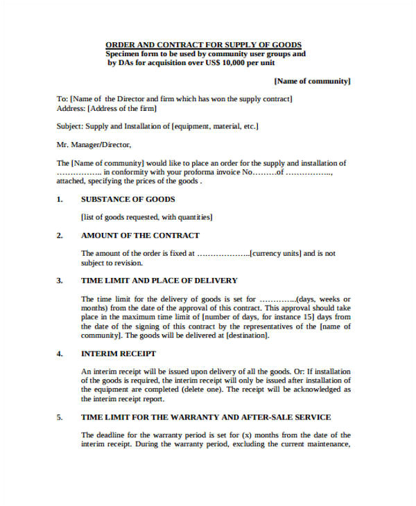 Supplier Contract Template Uk Supplier Contract