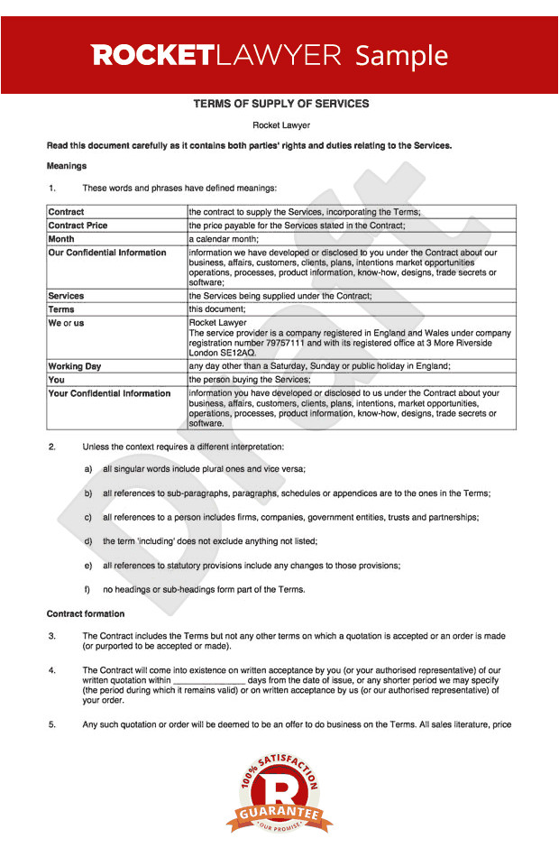 terms and conditions for supply of services to business customers rl