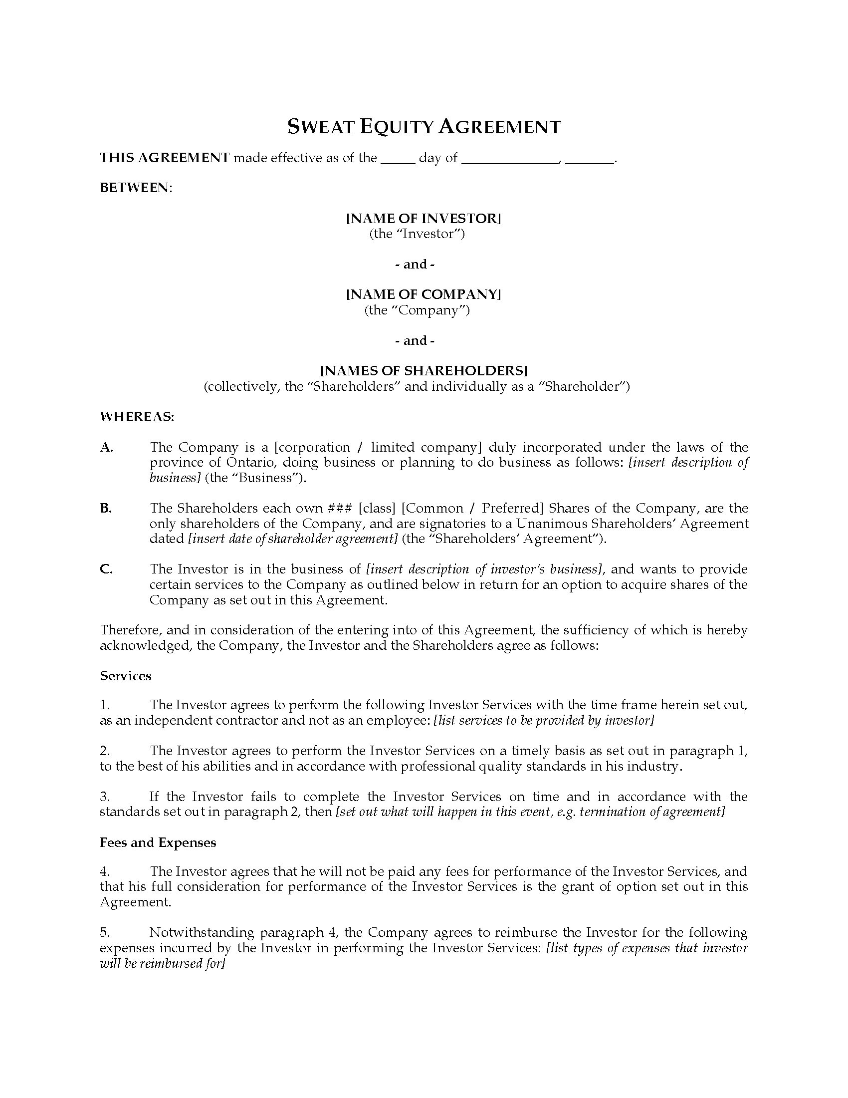 equity agreement template