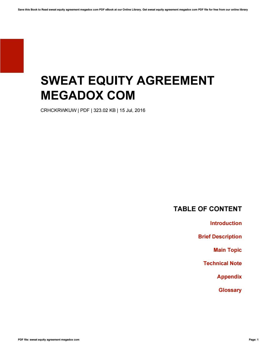 sweat equity agreement megadox com