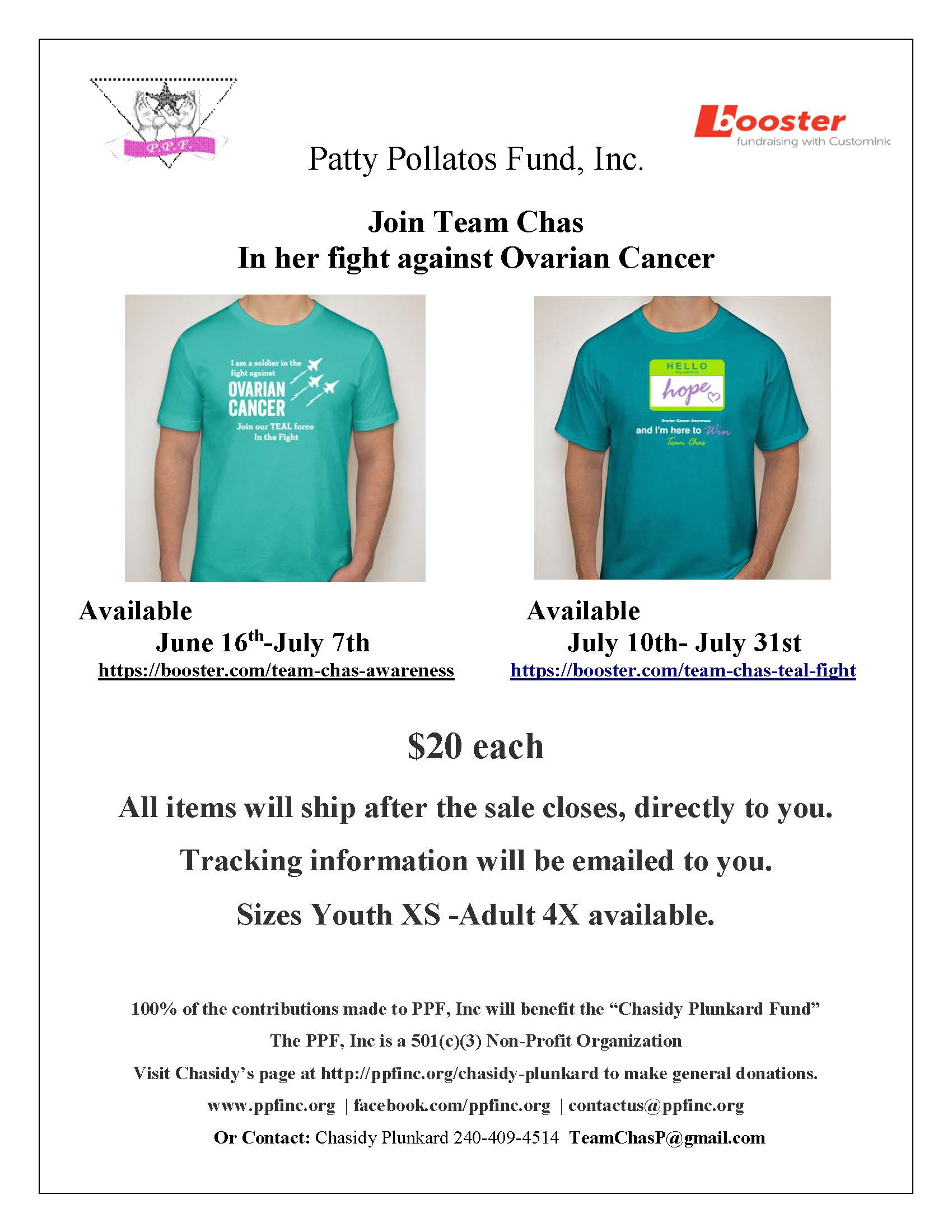 chasidy plunkard t shirt fundraiser