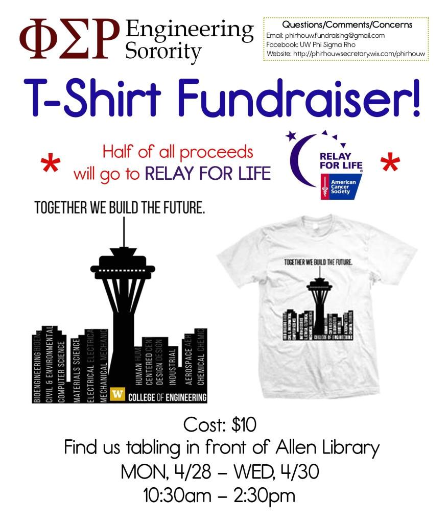 phi sigma rho uw engineering t shirt fundraiser