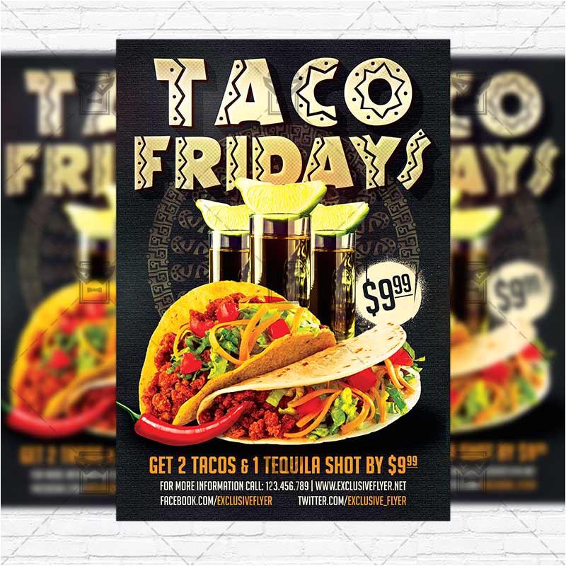 taco fridays premium flyer template instagram size flyer