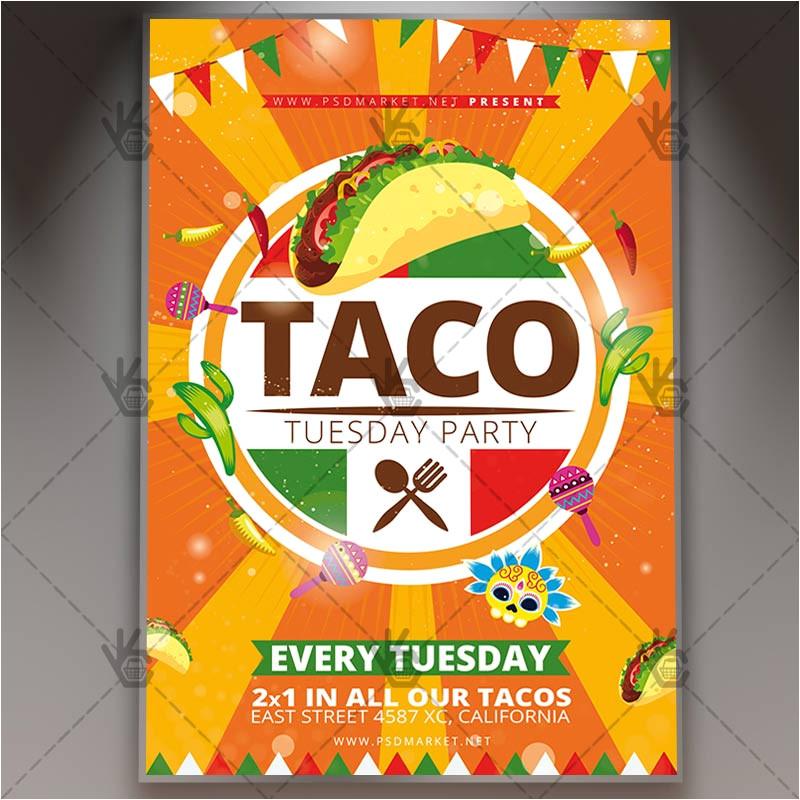 taco tuesday mexican flyer psd template