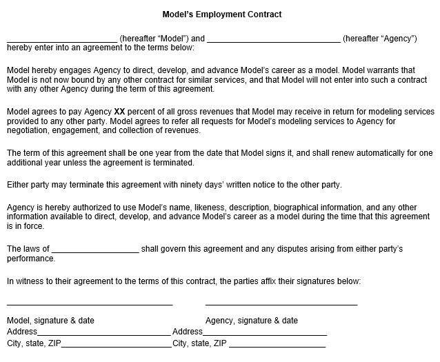 Talent Agency Contract Template Model Employment Contract