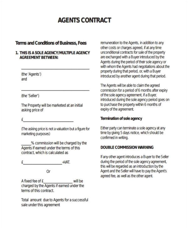 Talent Agency Contract Template Sample Agency Contract forms 8 Free Documents In Word Pdf
