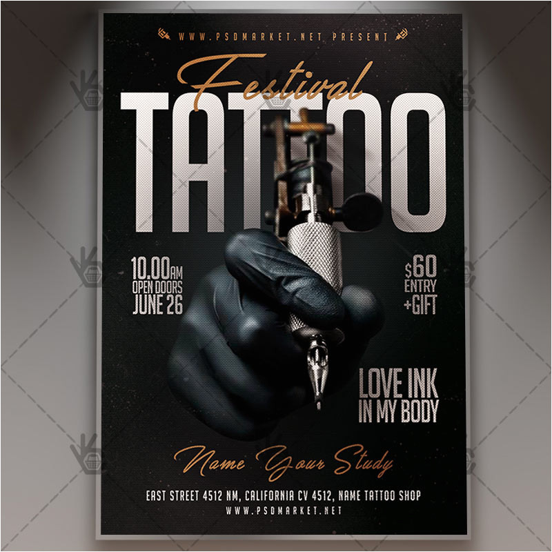 tattoo festival business flyer psd template