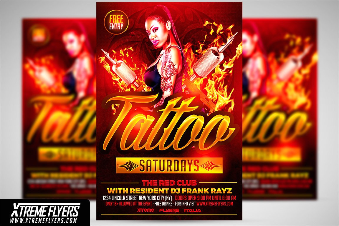 1811420 tattoo party flyer template