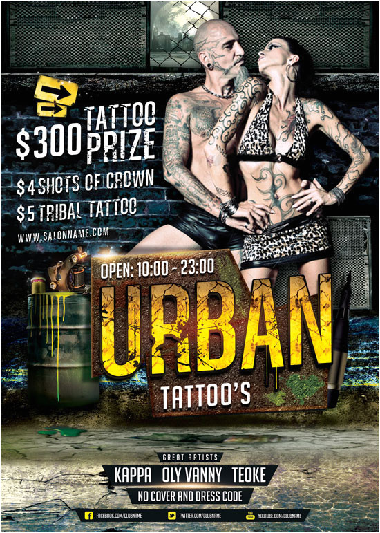 urban tattoo flyer template