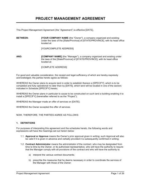 project management agreement d1195