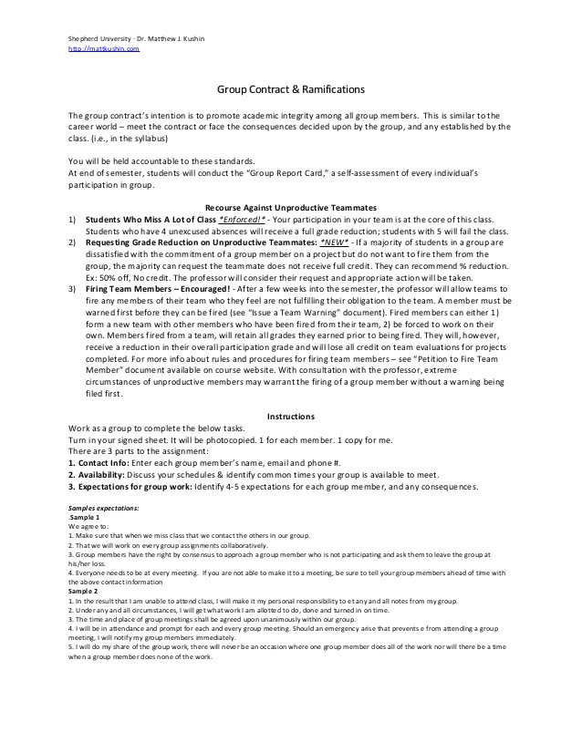 Team Contract Template In Project Management Team Contract for Classroom Group Projects