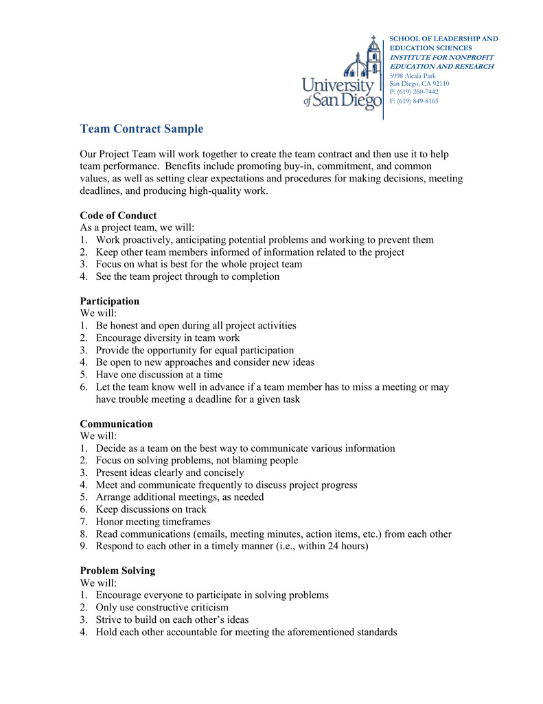 team contract sample