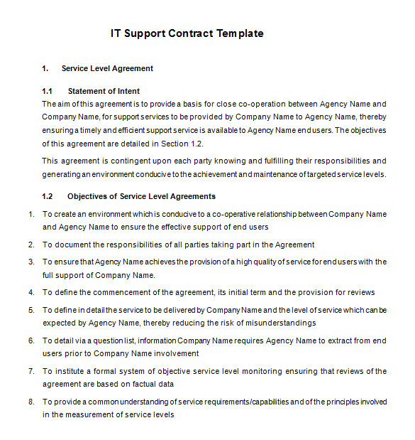 Tech Support Contract Template 8 It Support Contract Templates Word Google Docs Pdf