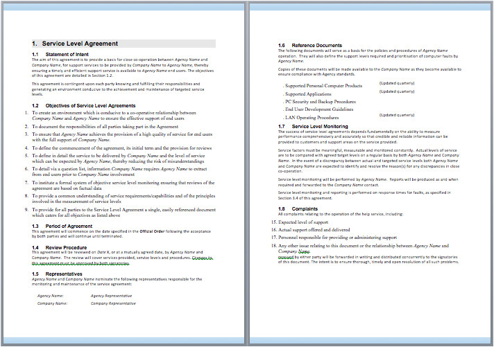 Tech Support Contract Template Information Technology Support Services Contract Template